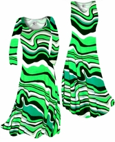 Customize Fresh Green Swirls Slinky Print Plus Size & Supersize Standard or Cascading A-Line or Princess Cut Dresses & Shirts, Jackets, Pants, Palazzo's or Skirts Lg to 9x
