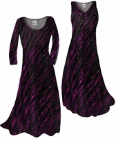 Customize Fuschia Streaks Glimmer Slinky Print Plus Size & Supersize Standard or Cascading A-Line or Princess Cut Dresses & Shirts, Jackets, Pants, Palazzo's or Skirts Lg to 9x