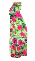 Customize Green and Pink Floral Slinky Print Special Order Plus Size & Supersize Pants, Capri's, Palazzos or Skirts! Lg to 9x