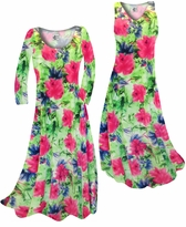 Customizable Green & Pink Floral Slinky Print Plus Size & Supersize Standard or Cascading A-Line or Princess Cut Dresses & Shirts, Jackets, Pants, Palazzo's or Skirts Lg to 9x
