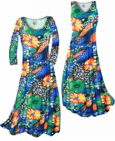 Customizable Green & Tangarine Orange Floral Speckled Paradise Slinky Print Plus Size & Supersize Standard or Cascading A-Line or Princess Cut Dresses & Shirts, Jackets, Pants, Palazzo's or Skirts Lg to 9x