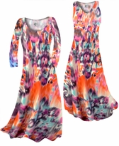 Customizable Hot Orange Blur Print Slinky Plus Size & Supersize Standard or Cascading A-Line or Princess Cut Dresses & Shirts, Jackets, Pants, Palazzo's or Skirts Lg to 9x