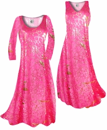 NEW! Customize Hot Pink & Gold Metallic Shiny Slinky Print Plus Size & Supersize Standard or Cascading A-Line or Princess Cut Dresses & Shirts, Jackets, Pants, Palazzo's or Skirts Lg to 9x