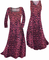Customizable Red With Hot Pink Glittery Leopard Slinky Print Plus Size & Supersize Short or Long Sleeve A-Line Dresses & Tanks - Sizes Lg XL 1x 2x 3x 4x 5x 6x 7x 8x 9x