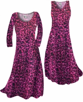 NEW! Customize Hot Pink Leopard Glittery Slinky Print Plus Size & Supersize Standard or Cascading A-Line or Princess Cut Dresses & Shirts, Jackets, Pants, Palazzo's or Skirts Lg to 9x