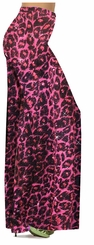 Customizable Red With Hot Pink Glittery Leopard Slinky Print Plus Size & Supersize Palazzo Pants - Capri's - Sizes Lg XL 1x 2x 3x 4x 5x 6x 7x 8x 9x