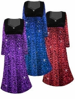 NEW! Customize Ruby, Orange, Red With Hot Pink, Purple, or Blue Leopard Glittery Slinky Print Empire Waist Plus Size Dress With Rhinestone Detail Lg-8x