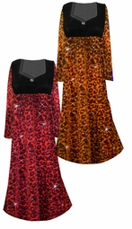 Customizable Orange or Pink Leopard Glittery Slinky Print Empire Waist Plus Size Dress With Rhinestone Detail Lg-8x