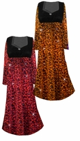 Customizable Ruby or Orange Leopard Glittery Slinky Print Empire Waist Plus Size Dress With Rhinestone Detail Lg-8x