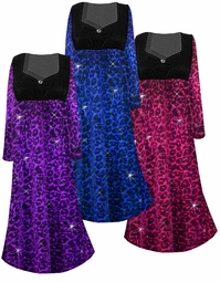 NEW! Customize Ruby, Orange, Hot Pink, Purple, or Blue Leopard Glittery Slinky Print Empire Waist Plus Size Dress With Rhinestone Detail Lg-8x