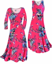 Customizable Hot Pink With Light Blue Rose Buds Slinky Print Plus Size & Supersize Standard or Cascading A-Line or Princess Cut Dresses & Shirts, Jackets, Pants, Palazzo's or Skirts Lg to 9x