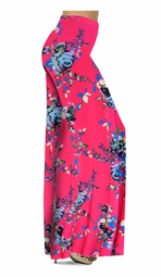 Customizable Hot Pink With Light Blue Rose Buds Slinky Print Special Order Plus Size & Supersize Pants, Capri's, Palazzos or Skirts! Lg to 9x