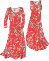 Customizable Imperial Red With Oriental Lily Slinky Print Plus Size & Supersize Standard or Cascading A-Line or Princess Cut Dresses & Shirts, Jackets, Pants, Palazzo's or Skirts Lg to 9x