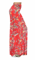 NEW! Customize Imperial Red With Oriental Lily Slinky Print Special Order Plus Size & Supersize Pants, Capri's, Palazzos or Skirts! Lg to 9x