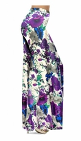 NEW! Customize Indigo Blue & Purple Bellflowers Floral Slinky Print Special Order Plus Size & Supersize Pants, Capri's, Palazzos or Skirts! Lg to 9x