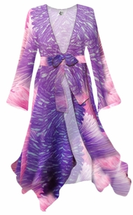 NEW! Customize Lilac, Pink, and Purple Feathers Semi Sheer Poly Satin Blouse Swimsuit Coverup Plus Size & Supersize 0x 1x 2x 3x 4x 5x 6x 7x 8x