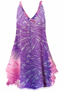NEW! Customize Lilac Pink & Purple Feathers Print Semi Sheer Poly Satin A-Line Overshirt Supersize & Plus Size Tops 0x 1x 2x 3x 4x 5x 6x 7x 8x