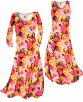 Customize Lovely Pink Spring Flowers Slinky Print Plus Size & Supersize Standard or Cascading A-Line or Princess Cut Dresses & Shirts, Jackets, Pants, Palazzo's or Skirts Lg to 9x