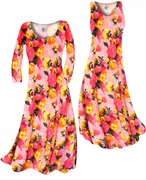 SALE! Lovely Pink Spring Flowers Slinky Print Plus Size A-Line Dresses 0x 1x
