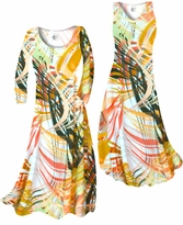 Customizable Melon Yellow Tropical Brushstrokes Slinky Print Plus Size & Supersize Standard or Cascading A-Line or Princess Cut Dresses & Shirts, Jackets, Pants, Palazzo's or Skirts Lg to 9x
