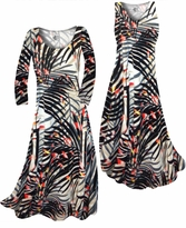 NEW! Customize Orange & Black Sunset Fern Leaves Slinky Print Plus Size & Supersize Standard or Cascading A-Line or Princess Cut Dresses & Shirts, Jackets, Pants, Palazzo's or Skirts Lg to 9x