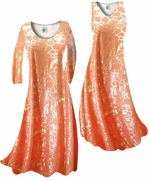 Customizable Orange & Gold Metallic Shiny Slinky Print Plus Size & Supersize Standard or Cascading A-Line or Princess Cut Dresses & Shirts, Jackets, Pants, Palazzo's or Skirts Lg to 9x