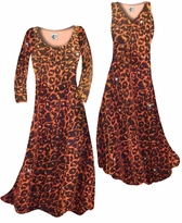 NEW! Customize Orange Leopard Glittery Slinky Print Plus Size & Supersize Standard or Cascading A-Line or Princess Cut Dresses & Shirts, Jackets, Pants, Palazzo's or Skirts Lg to 9x