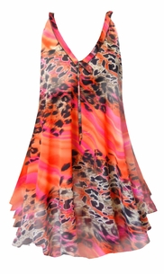 NEW! Customize Orange & Pink Leopard Print Semi Sheer A-Line Overshirt Supersize & Plus Size Tops 0x 1x 2x 3x 4x 5x 6x 7x 8x