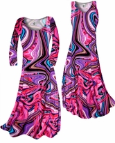 NEW! Customize! Pink & Purple Bright Waves Slinky Print Plus Size & Supersize Standard or Cascading A-Line or Princess Cut Dresses & Shirts, Jackets, Pants, Palazzo's or Skirts Lg to 9x