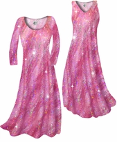 NEW! Customize Pretty Hot Pink Sparkly Sequins Slinky Print Plus Size & Supersize Standard or Cascading A-Line or Princess Cut Dresses & Shirts, Jackets, Pants, Palazzo's or Skirts Lg to 9x