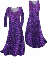 NEW! Customize Purple Leopard Glittery Slinky Print Plus Size & Supersize Standard or Cascading A-Line or Princess Cut Dresses & Shirts, Jackets, Pants, Palazzo's or Skirts Lg to 9x