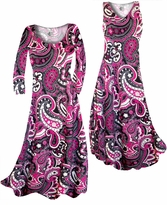 Customize Raspberry Paisley Teardrop Slinky Print Plus Size & Supersize Standard or Cascading A-Line or Princess Cut Dresses & Shirts, Jackets, Pants, Palazzo's or Skirts Lg to 9x