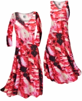 NEW! Customize Red & Black Fire Tye Dye Slinky Print Plus Size & Supersize Standard or Cascading A-Line or Princess Cut Dresses & Shirts, Jackets, Pants, Palazzo's or Skirts Lg to 9x