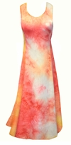 Red, Orange Sherbet Tie Dye Slinky Print Princess Cut Plus Size Lounge Tank Dress 1x 2x 3x 4x 5x 6x 7x 8x 9x