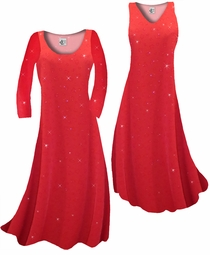 Customize Red With Red Hearts Glitter Slinky Print Plus Size & Supersize Standard or Cascading A-Line or Princess Cut Dresses & Shirts, Jackets, Pants, Palazzo's or Skirts Lg to 9x