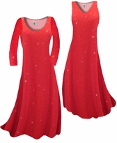 Customizable Red With Red Hearts Glitter Slinky Print Plus Size & Supersize Standard or Cascading A-Line or Princess Cut Dresses & Shirts, Jackets, Pants, Palazzo's or Skirts Lg to 9x