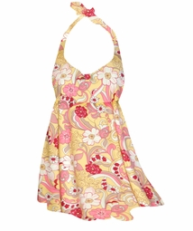 SALE! Retro Yellow & Red Flowers Print Plus Size Halter SwimDress Swimwear 2pc Swimsuit 0x