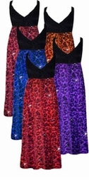 NEW! Ruby, Red With Hot Pink, Orange, Purple or Blue Glitter Leopard Glimmer Plus Size Slinky Black Empire Waist Dress add Matching Wrap 0x 1x 2x 3x 4x 5x 6x 7x 8x