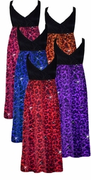 NEW! Ruby, Hot Pink, Orange, Purple or Blue Glitter Leopard Glimmer Plus Size Slinky Black Empire Waist Dress add Matching Wrap 0x 1x 2x 3x 4x 5x 6x 7x 8x
