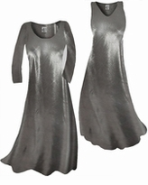 Customize Silver Metallic Slinky Plus Size & Supersize Standard or Cascading A-Line or Princess Cut Dresses & Shirts, Jackets, Pants, Palazzo's or Skirts Lg to 9x