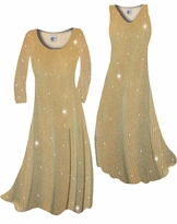 NEW! Customize Taupe & Gold Glimmer Glitter Ribbed Vertical Lines Slinky Print Plus Size & Supersize Standard or Cascading A-Line or Princess Cut Dresses & Shirts, Jackets, Pants, Palazzo's or Skirts Lg to 9x