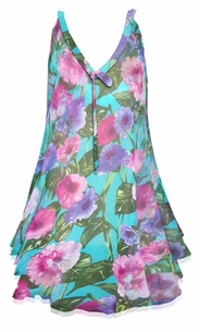 SALE! Customizable Teal With Pink and Purple Flowers Print Semi Sheer A-Line Overshirt Supersize & Plus Size Tops 0x 1x 2x 3x 4x 5x 6x 7x 8x