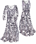 SOLD OUT! SALE! White & Black Persian Paisley Slinky Print Plus Size & Supersize Standard or Cascading A-Line or Princess Cut Dresses 0x
