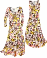 Customizable Yellow & Black Diamond & Daisy Ganado Tribal Slinky Print Plus Size & Supersize Standard or Cascading A-Line or Princess Cut Dresses & Shirts, Jackets, Pants, Palazzo's or Skirts Lg to 9x
