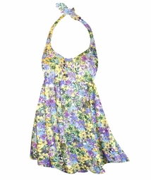 NEW! Customizable Yellow Violets Floral Print Plus Size Halter SwimDress Swimwear or Shoulder Strap 2pc Swimsuit 0x1x 2x 3x 4x 5x 6x 7x 8x 9x