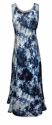 SALE! Navy Blue Tie Dye Poly Cotton Print Plus Size Princess Cut Tank Dresses 1x 2x 3x 4x 5x 6x 8x
