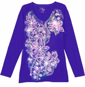 SALE! Dark Blue With Light Pink Blossoms Floral Glittery Plus Size T-Shirt 1x