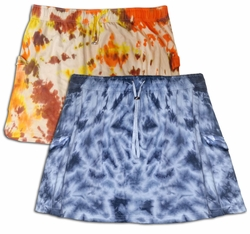 SALE! Dark Blue & White Or Brown, Red, Yellow Tie Dye Plus Size Skirts & Swimsuit Coverups 3x 4x