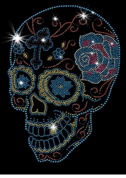 Day Of The Dead Sugar Skull With Cross & Rose Sparkly Rhinestuds Plus Size & Supersize T-Shirts S M L XL 2x 3x 4x 5x 6x 7x 8x 9x (All Colors)