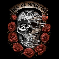 Dia De Muertos Skull With Roses Plus Size & Supersize T-Shirts S M L XL 2x 3x 4x 5x 6x 7x 8x (Darks Only)